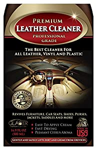 Leather Cleaner - THE BEST Natural & Professional Strength Leather Cleaner for Cars, Leather Furniture, Purses, Shoes, Boots, Saddles, Jackets, Couch, Sofa, Seats & More - Conditioner Added - 16 Oz Cream - Bonus Applicator Glove - 100% GUARANTEED!