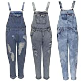 WOMEN LADIES ACID WASH DENIM ALL IN ONE DUNGAREE JUMPSUIT PLAYSUIT DRESS 6-14