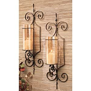 Set of Two (2) Candle Holder Sconces, Large Black Metal Wall Sconces for Candles - - Amazon.com