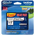 Brother Laminated Black On White Tape 2Pack (TZe2312PK) - Retail Packaging