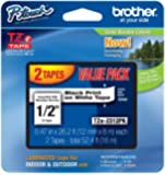 Brother Laminated Black On White Tape 2Pack (TZe2312PK)