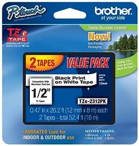 Brother Laminated Black On White Tape 2Pack (TZe2312PK)
