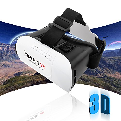 Insten [Adjustable] 3D Glasses Virtual Reality Headset VR box For Google Cardboard, Samsung S7 Edge, iPhone SE/ 6/6s Plus, Smartphones within 4.7 - 6 inch perfect for 3D Movies/Games, White/Black