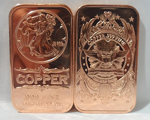 1 OZ. Walking Liberty Ingot .999 Fine Copper Bullion Art Bar