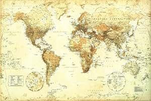 Posters cartes poster carte du monde style r tro en - Cheque cadeau maison du monde ...