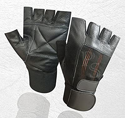 PRIME PADDED WEIGHT LIFTING TRAINING GYM LEATHER GLOVES WRIST SUPPORT BODY BUILDING Medium 201 from PRIME LEATHER