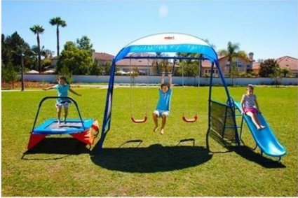 Kids Outdoor Playground Includes Trampoline, Swings