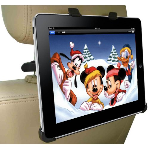 DBTech Headrest iPad Car Mount - Fits all Cars - Great for Backseat Entertainment. Includes Bonus 3.5mm AUX Cable (6 ft.)