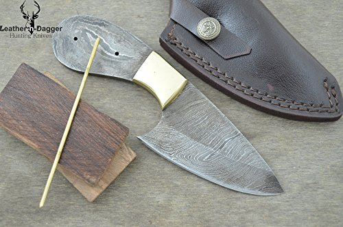 Knife Project Kit: Custom Handmade Damascus Steel Blank Blade With Leather Sheath, Brass Pin, Brass Bolster And Walnut Wood Scales For Knife Making Ldp10