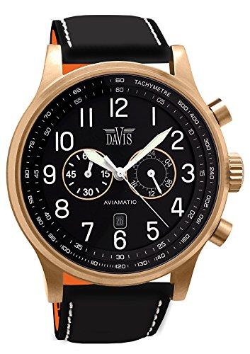 e960199cfe3e Davis 1940 - Reloj para hombre Aviador de oro rosa