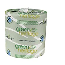 "Green Heritage 275 4.5"" Length x 3.1"" Width, 2-Ply Bathroom Tissue (Case of 96 Rolls, 500 per Roll)"
