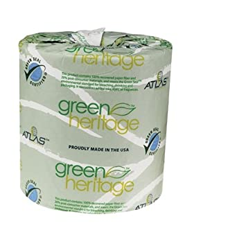 "Green Heritage 205GREEN 4.5"" Length x 3.5"" Width, 2-Ply Bathroom Tissue (Case of 48, 500 Sheets per Roll)"