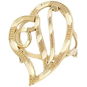 14ct Real Gold Large Heart Cursive Letter V Diamond Cut