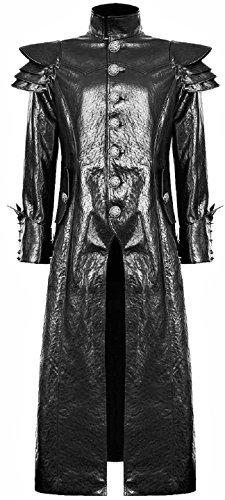 Black-Gothic-Steampunk-Dieselpunk-Faux-Leather-Long-Trench-Coat