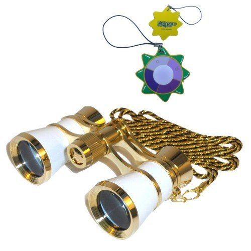 Hqrp Theater Glasses Binoculars White Pearl With Gold Trim W/ Necklace Chain Plus Uv Meter