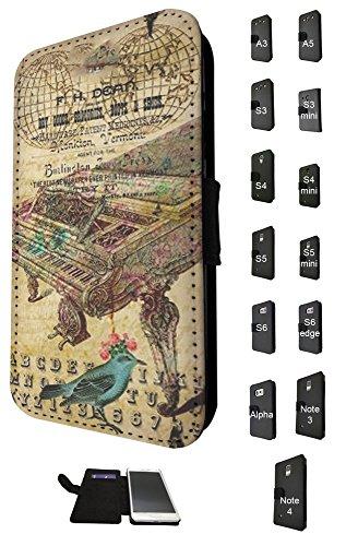 540 - Vintage Shabby Chic Victorian Piano Floral RosesDesign Fashion Trend TPU Leder Brieftasche Hülle Flip Cover Book Wallet Credit Card Kartenhalter Case Für alle Samsung Galaxy S3 i9300 / Galaxy S3 Mini / Galaxy S4 i9500 / Galaxy S4 Mini / Galaxy S5 i9600 / Galaxy S5 Mini / Galaxy S6 i9700 / Galaxy S6 Egde / Galaxy A3 / Galaxy A5 / Galaxy Alpha / Galaxy Note 3 / Galaxy Note 4 - Bitte wählen Sie Ihr Telefonmodell aus der Dropbox