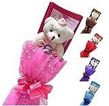 ベア ブーケ 5色 花束 や プレゼント に 添えて ベアブーケ 熊束 (4.ピンク)
