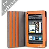 """Acase(TM) Kindle Fire Premium Micro Fiber Leather Case with built-in Stand for Kindle Fire Full Color 7"""" Multi-touch Display, Wifi (Orange)"""