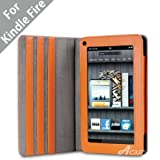 "Acase(TM) Kindle Fire Premium Micro Fiber Leather Case with built-in Stand for Kindle Fire Full Color 7"" Multi-touch Display, Wifi (Orange)"