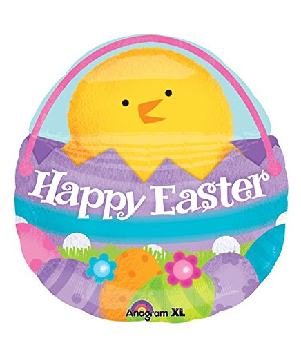 "Chick In A Happy Easter Basket 23"" Mylar Foil Balloon"