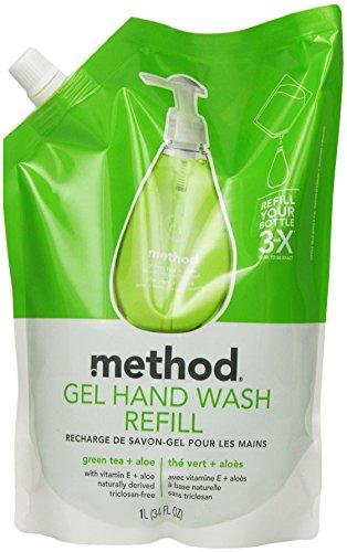 Method Gel Hand Wash Refill 34oz, Green Tea & Aloe, (Pack of 6)
