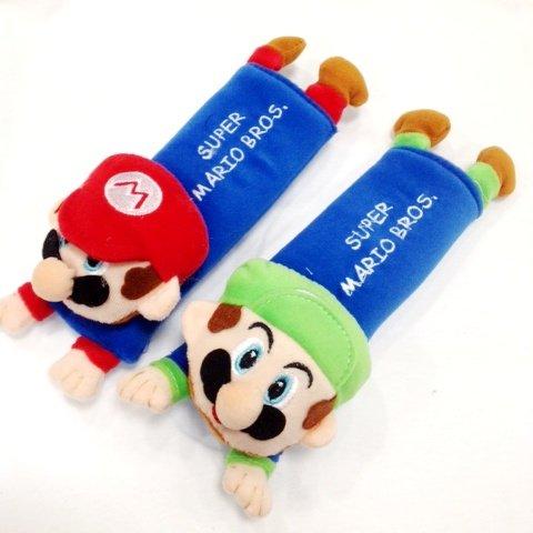 Mario & Luigi Plush Seat Belt Cover Shoulder Pad Cushion (2 Pcs)