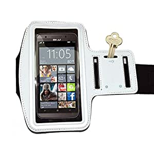 RiaTech® Water Proof Hand Fitness Gym Arm Band Case for Jogging Armband or All Phones up to 5.7 inches screen -White