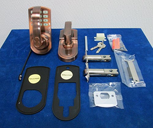 keypad door lock electronic keyless set antique copper reversible handle left or right handle. Black Bedroom Furniture Sets. Home Design Ideas