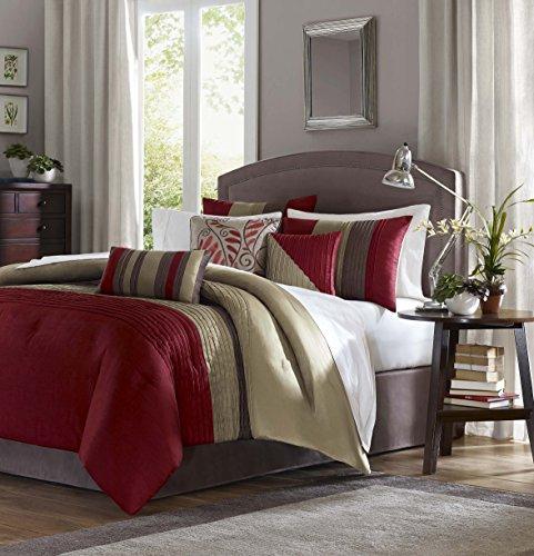 Madison Park Tradewinds 7 Piece Comforter Set, Queen, Red