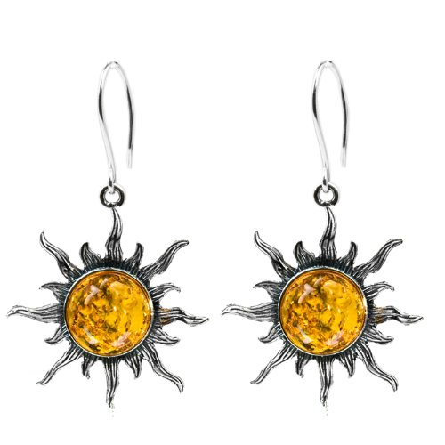 Baltic Honey Amber and Sterling Silver Medium Flaming Sun Earrings