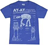 Star Wars Mens T-Shirt - AT-AT Schematics Multiple Images (Large) Heather Blue