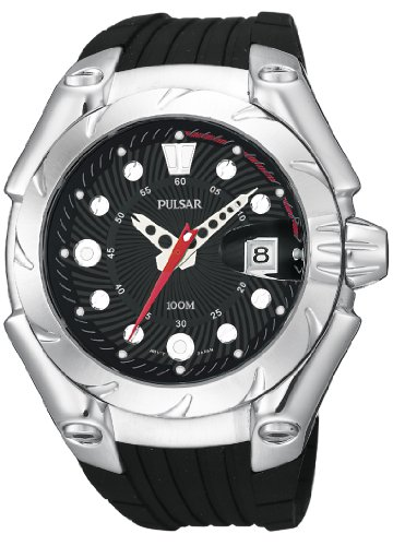 Mens Pulsar Large Rubber Black Dial Date 10ATM Sport Watch PXH471