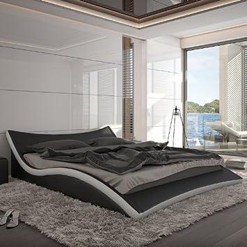 Juego de ropa de cama de piel sintética de inocente de la tapicería Nurai, negro/blanco, 180 x 200 cm