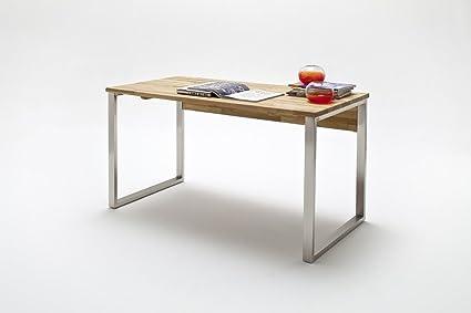 Dreams4Home Schreibtisch 'Savona' Holz massiv Tisch Computertisch, Buro, Arbeitszimmer, Kinderzimmer, Asteiche, Kernbuche geölt, Breite 135 cm, 3 Schubladen, Farbe:Asteiche