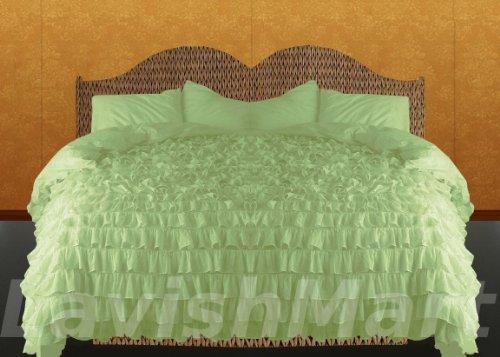 Best Price 800 Tc 100% Egyptian Cotton Ruffle Duvet Set King Size Sage Solid Sale-591 front-1012745