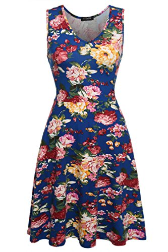 ACEVOG Women's Casual Summer Fit and Flare Floral Sleeveless Dress Blue XXL
