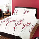 Dreams 'n' Drapes, Oriental Flower Quilt Set Red, Single