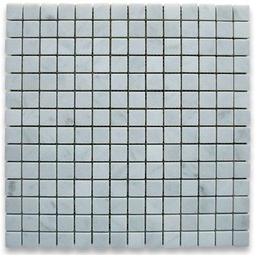 Carrara White Italian Carrera Marble Square Mosaic Tile 3/4 x 3/4 Polished