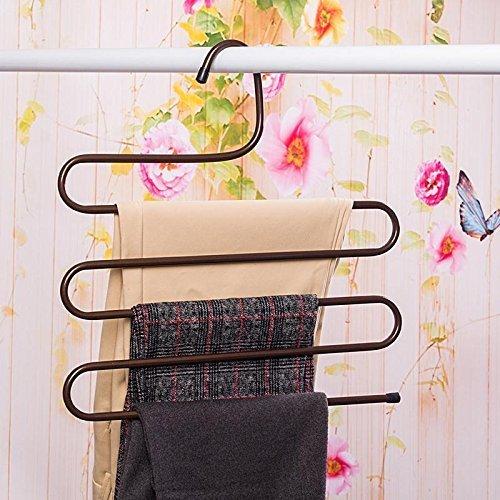 Black /… Okana Multi-purpose Metal Magic Pants Hanger Closet Hangers Space Saver Storage Rack for Hanging Jeans Scarf Tie