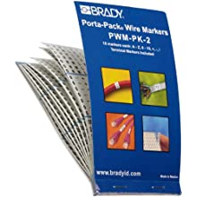 "Brady PWM-PK-2 B-500 Matte Repositionable Vinyl Cloth, Black On White Color Porta-Pack Letter, Number And Symbol Wire Markers, Legend ""A Thru Z, 0 Thru 15, And Symbols"" (Pack Of 10)"