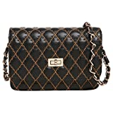 MG Collection KATRA Black Diamond Quilted Gold Stitching Evening Cross Body Shoulder Bag