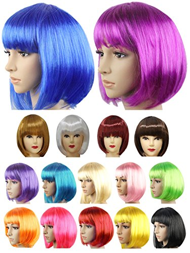 HnB Multicolors BOB Short Straight Sexy Costume Party Halloween Cosplay Wigs