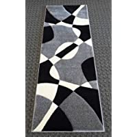 Modern Area Rug Runner 31 Inch X 7 Feet Hollywood 284 Gray