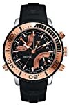 Tx T3c414 World Time Multifunctional Two Tone Watch With Black Pu Strap And Rose Gold Detail