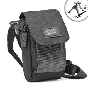 USA Gear Compact Camera Carrying Pouch Case - Works With Samsung NX3000 , NX Mini , WB350F , WB50F , WB35F , WB30F , DV150F & Many More **Includes Lens Cap Lanyard & Mini Tripod**