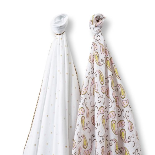 SwaddleDesigns SwaddleDuo, Triplets Paisley Duo (Set of 2 in Pastel Pink)
