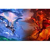 Jigsaw 1000 pieces Puzzle of Ice-Dragon-Vs-Fire-Dragon by BOYER PUZZLE