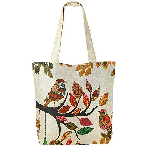 Digital stampato multiuso Moda Shopping bag - uccelli colorati di seta del faux Borsa con Polysatin Fodera