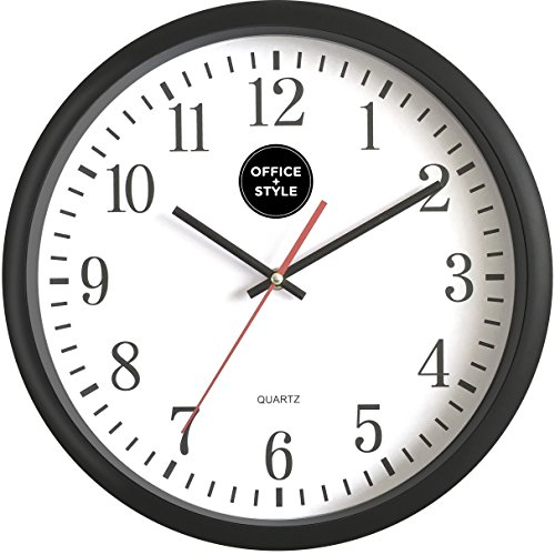Analog Wall Clock with Anti-Scratch Plexi Glass Cover, Black with White Easy-to-Read Numbers, Silent Quartz - by Office Style (Office Wall Cover compare prices)