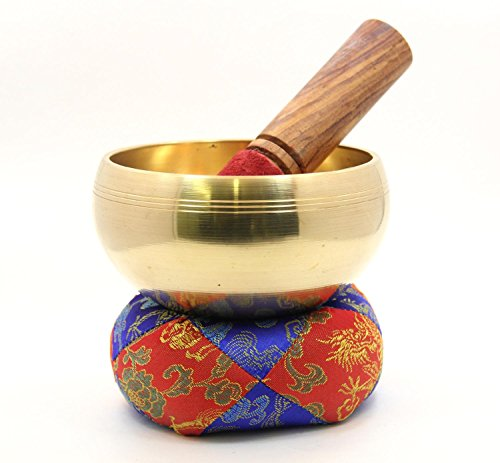 """Tibetan Hand Hammered Old HEALING Singing Bowl 4.5"""" Diameter / Wooden Stand and Mallet"""